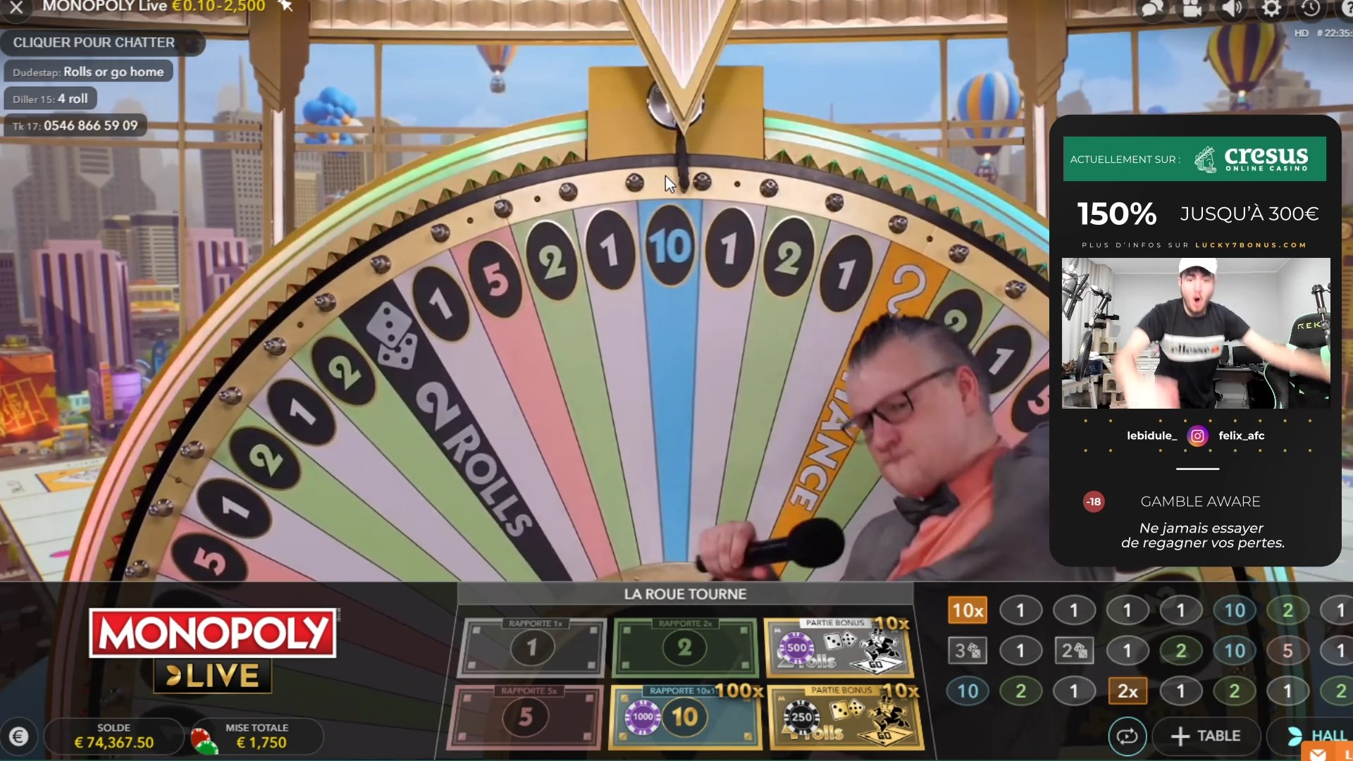 Bidule gagne 100 000€ au Monopoly Live