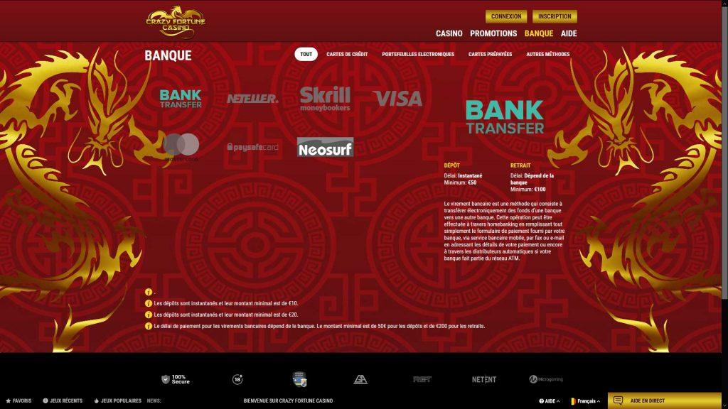 paiement crazy fortune casino