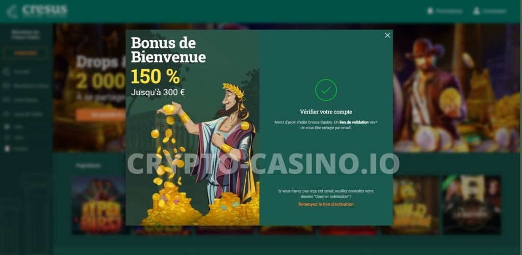 vérification compte cresus casino