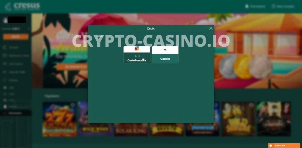 Méthode dépôt cresus casino
