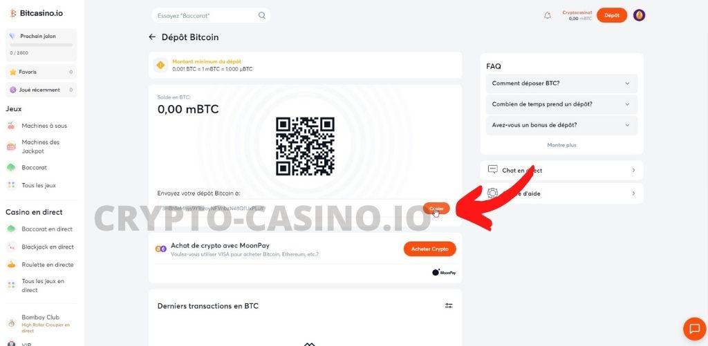 dépôt bitcoin bitcasino